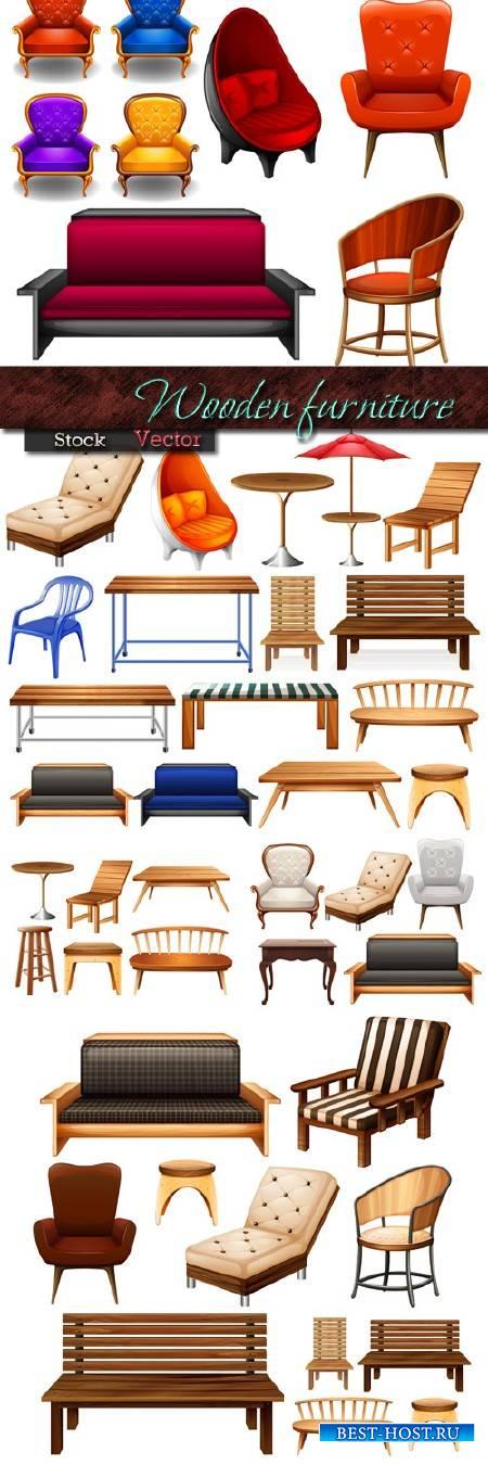 Деревянная мебель для сада и дома в Векторе