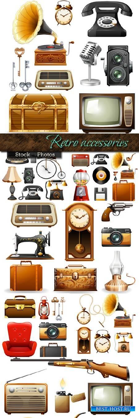Телефон, часы, грамафон, чемодан и другие аксессуары в Ретро стиле