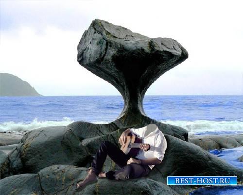 Шаблон мужской - С гитарой сидя на камне