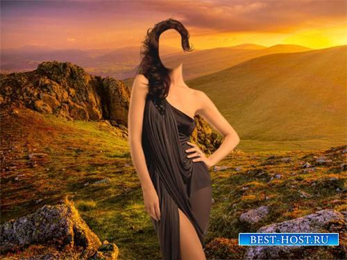 Photoshop шаблон - Завораживающая природа на закате