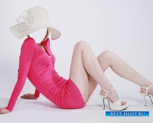 Шаблон для фотошопа - В платье и шляпе