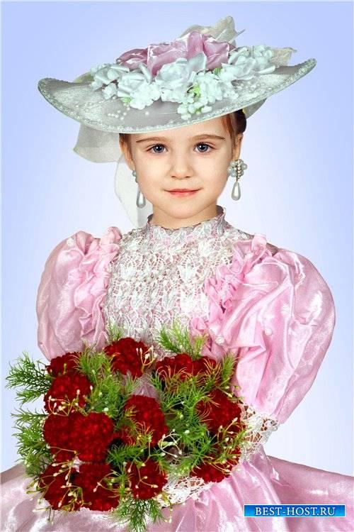 Шаблон для фотошопа девочкам – Нарядное платье и шляпа