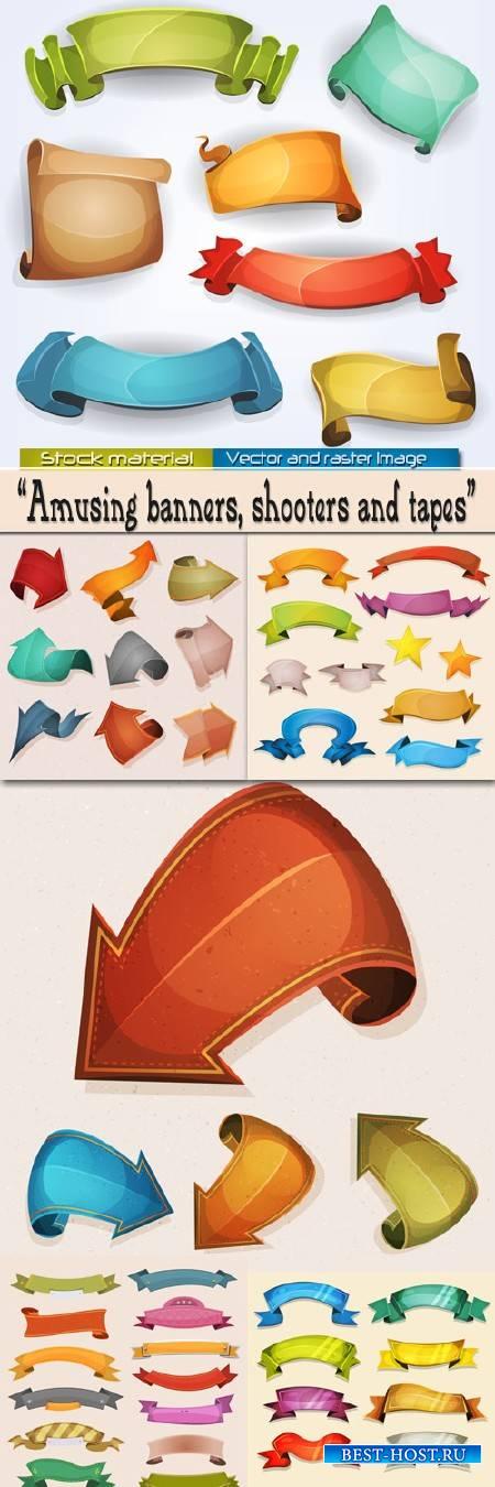 Забавные цветные комические баннеры, стрелки и ленты в Векторе