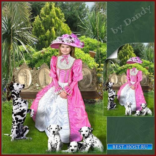 Шаблон для фотошопа - девочка на качелях с собачками