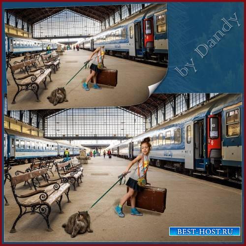 Шаблон для фотошопа - девочка с кошкой и чемоданом