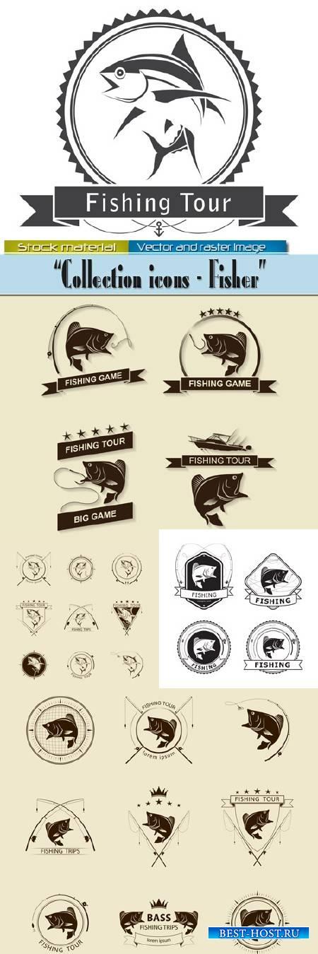 Рыбалка - Коллекция этикеток и знаков в Векторе