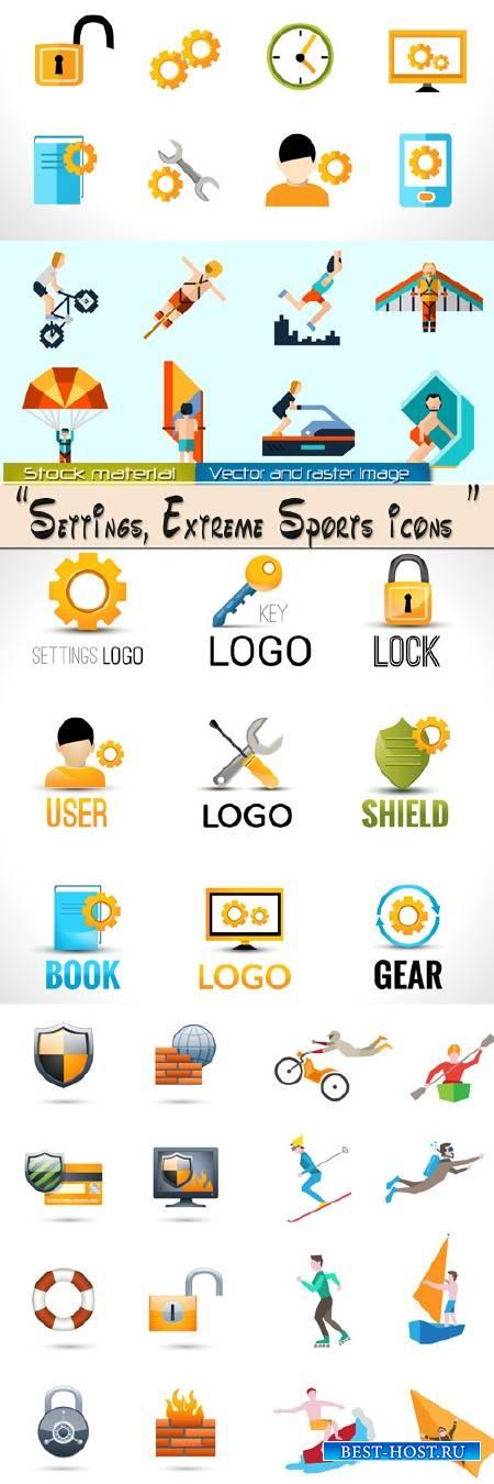 Коллекция иконок и логотипов – Настройки безопасности и Экстремальный спорт
