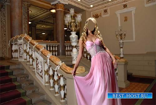 Фото шаблон - В шикарном розовом платье в театре