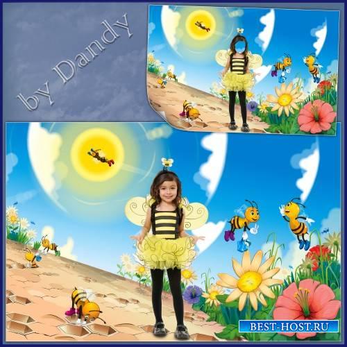 Шаблон для фотошопа - Пчелка возле улья