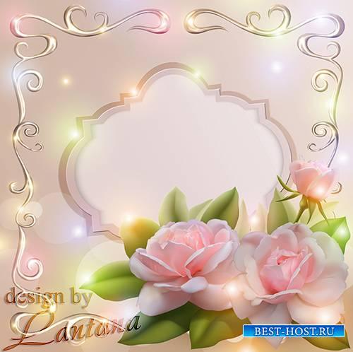 Psd исходник - Чудесный розовый туман на лепестках прекрасной розы