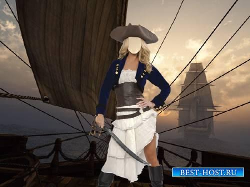 Шаблон для фото - Пиратка на корабле