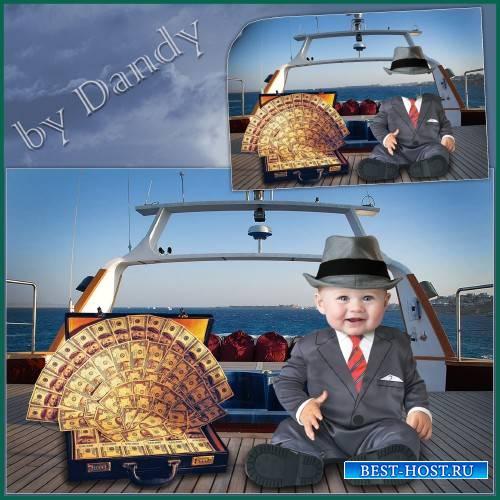 Шаблон для фотошопа - Маленький бизнесмен на яхте