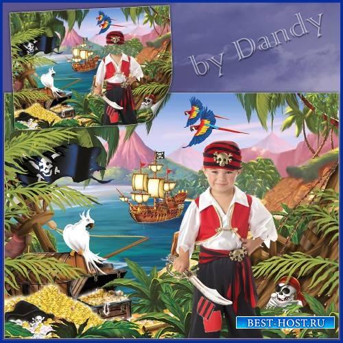 Шаблон для фотошопа - Пират на острове сокровищ