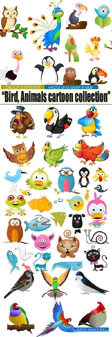 Цветные птицы и животные - Герои мультиков в Векторе