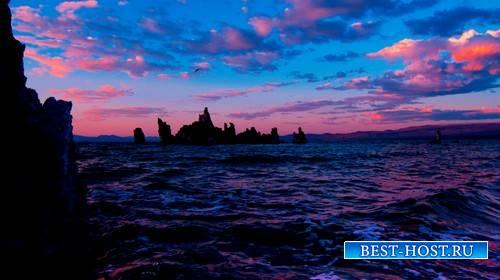 Футаж - Розовые облака над морем