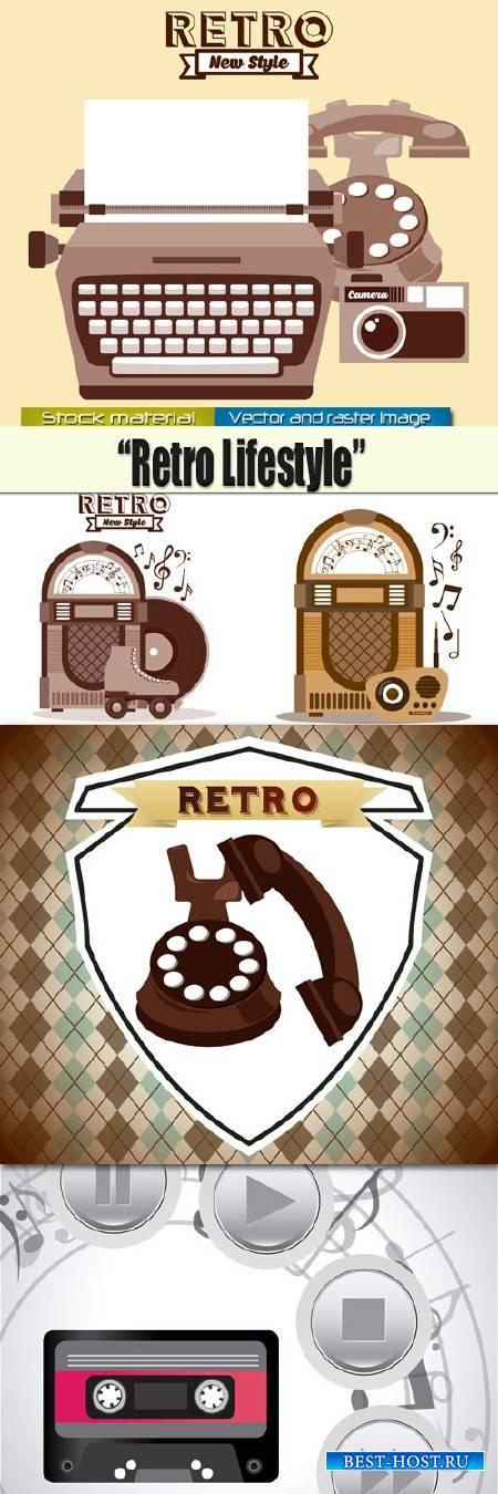 Радио, телефон и машинка в Ретро стиле