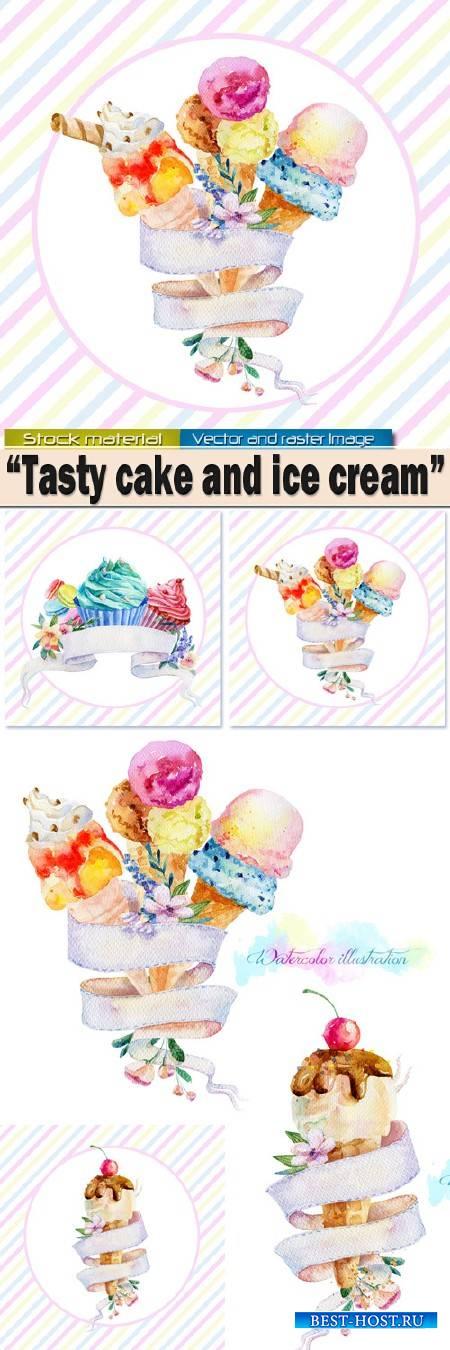 Акварельные иллюстрации с лентой для текста – Вкусное мороженое и пирожное