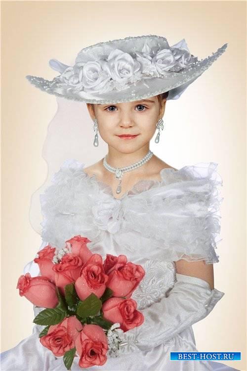 Фотошоп шаблон для девочек – В белом платье и в шляпе
