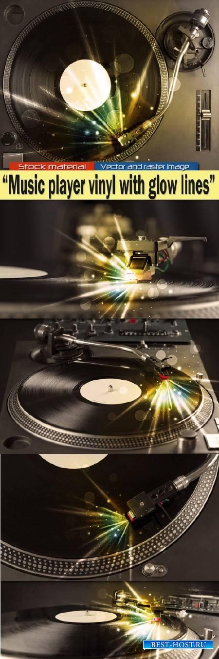 Музыкальная виниловая пластинка с бликами и цветными линиями света