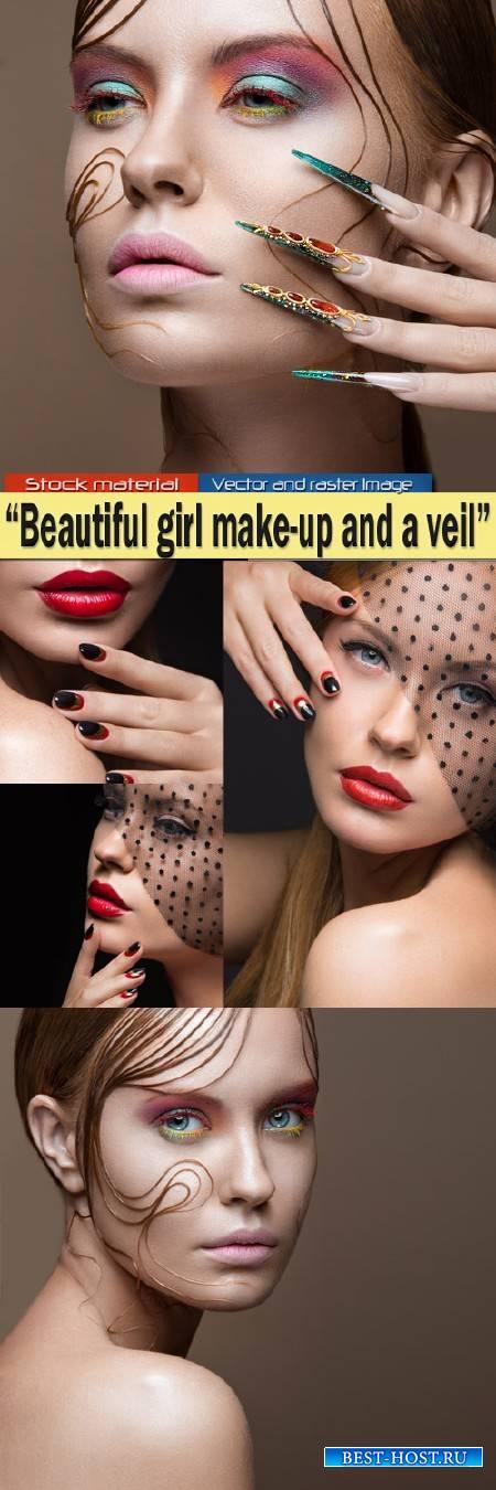 Красивая девушка с вуалью, ярким макияжем и красиво уложенной прядью волос