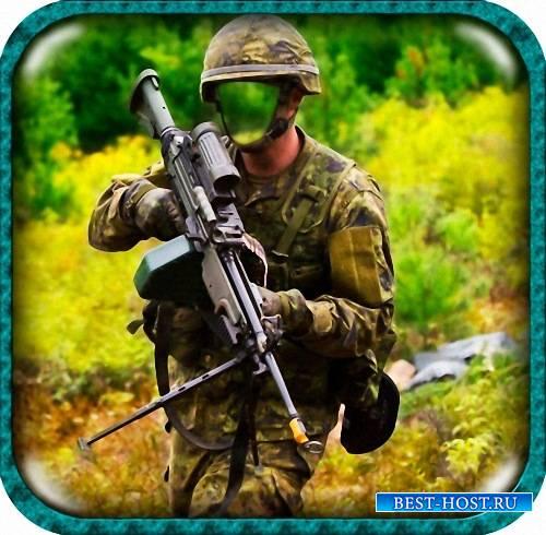 Шаблон для фото - Пулемет, солдат, учения