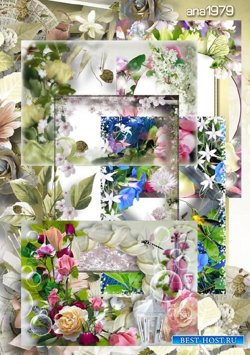 Набор рамок - Пусть радость и счастье подарят цветы