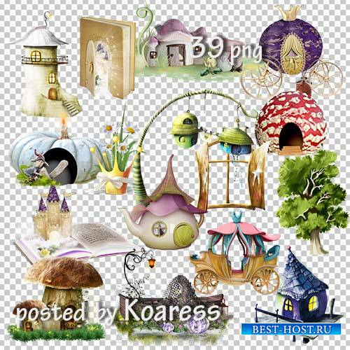 Подборка детского клипарта на прозрачном фоне для дизайна - Замки, домики,  ...