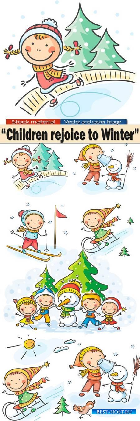 Дети радуются Зиме - Катаются на санках, лепят снеговика