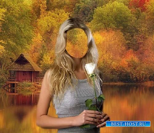 Шаблон для девушек - С розой в руках