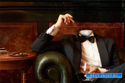 Шаблон мужской - В кресле с сигарой и коньяком