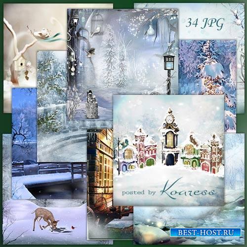 Растровые фоны для дизайна - Волшебница-зима