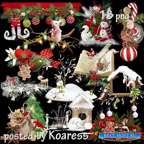 Клипарт на прозрачном фоне для дизайна - Детские новогодние и рождественски ...