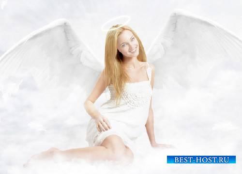 Шаблон для девушек - Ангел с крыльями в облаках