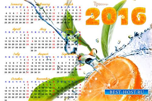 Настенный календарь на 2016 год - апельсиновый рай