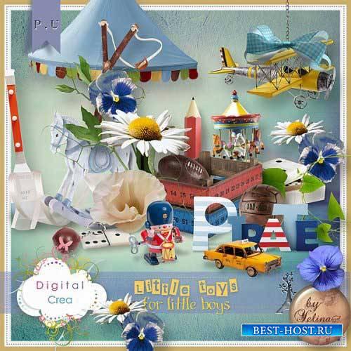 Детский скрап-набор - Маленькие игрушки для маленьких мальчиков
