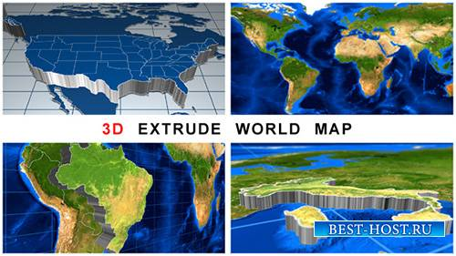 3D Extrude World Map - Project for After Effects (Videohive)