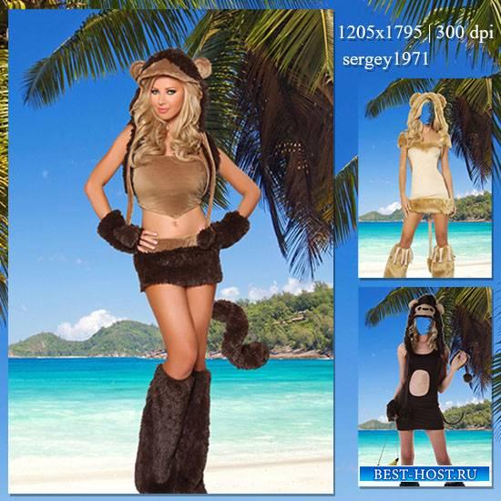 Женский фотошаблон - Озорная обезьяна