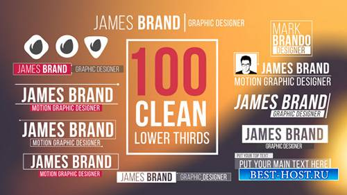 100 Clean Lower Thirds - Project for After Effects (Videohive)