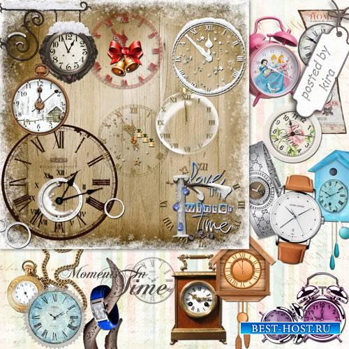 Клипарт на прозрачном фоне - Разнообразные часы, в т.ч. новогодние