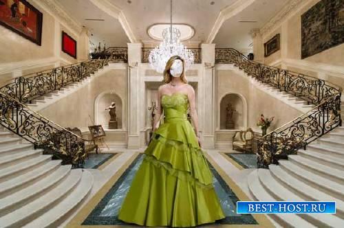 Photoshop шаблон - В платье в дорогом холле