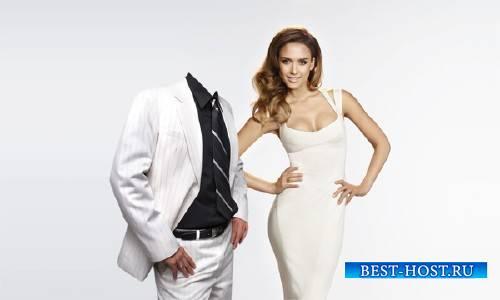 Шаблон для фото - В белом костюме с красивой девушкой