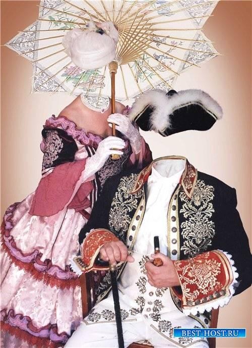 Парный шаблон для фотошопа – Джентльмен и дама с зонтиком
