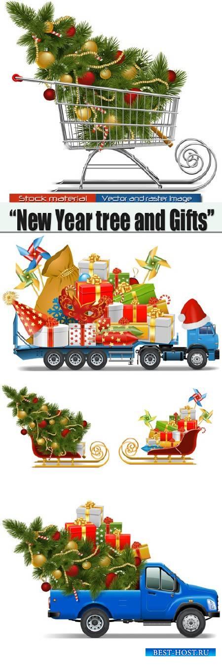 Новогодняя Елка и Подарки в продуктовой тележке