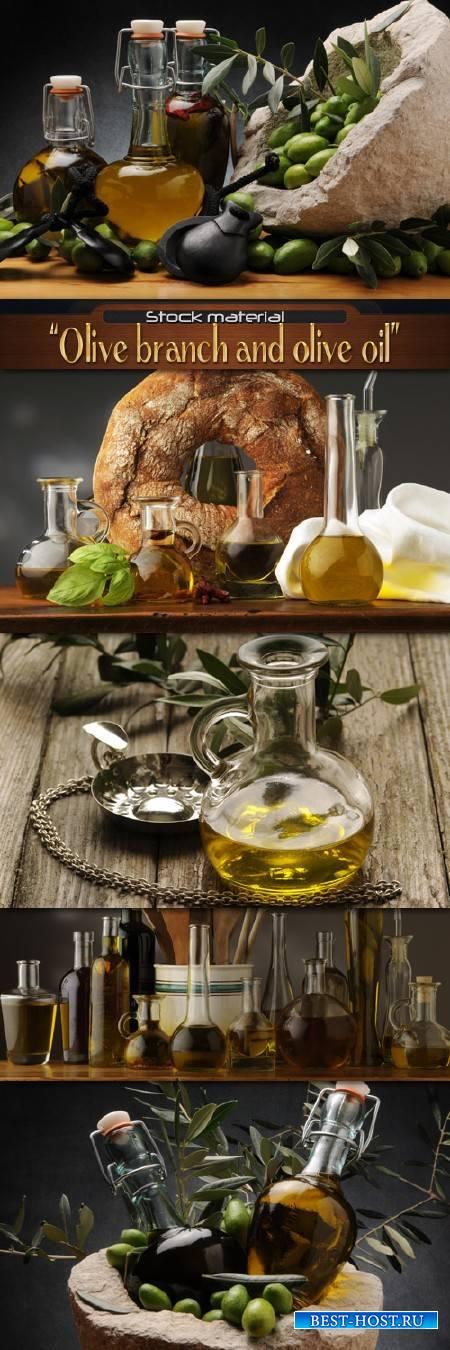 Ветка оливы и оливковое масло в стеклянной бутылке