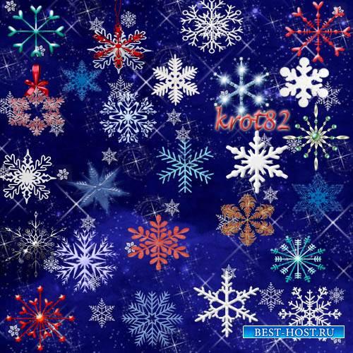Новогодний клипарт PNG – Хоровод снежинок