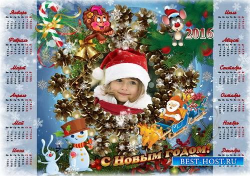 Новогодний календарь с рамкой для фото на 2016 год - Зимняя сказка