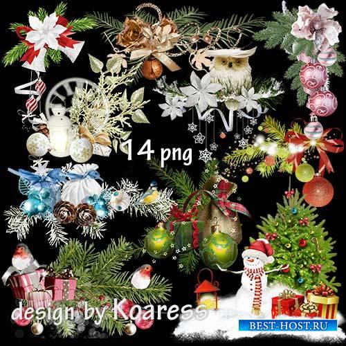 Клипарт на прозрачном фоне для фотошопа - Зимние праздничные кластеры