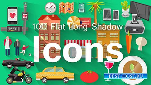 100 Flat Long Shadow Icons - Project for After Effects (pond5)