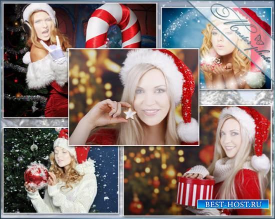 Набор женских шаблонов для фотошопа - Снегурочка блондинка