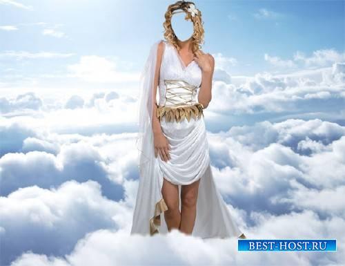 Женский фото шаблон - Афродита среди облаков